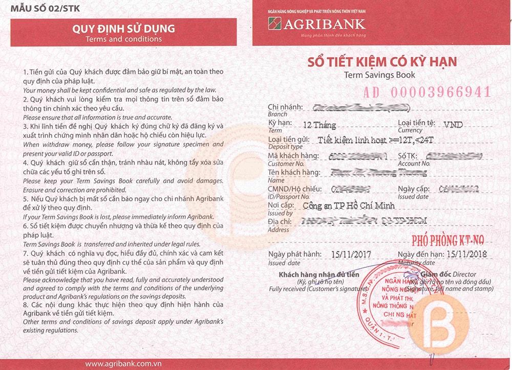 Thủ tục mở sổ tiết kiệm ngân hàng Agribank ảnh 1