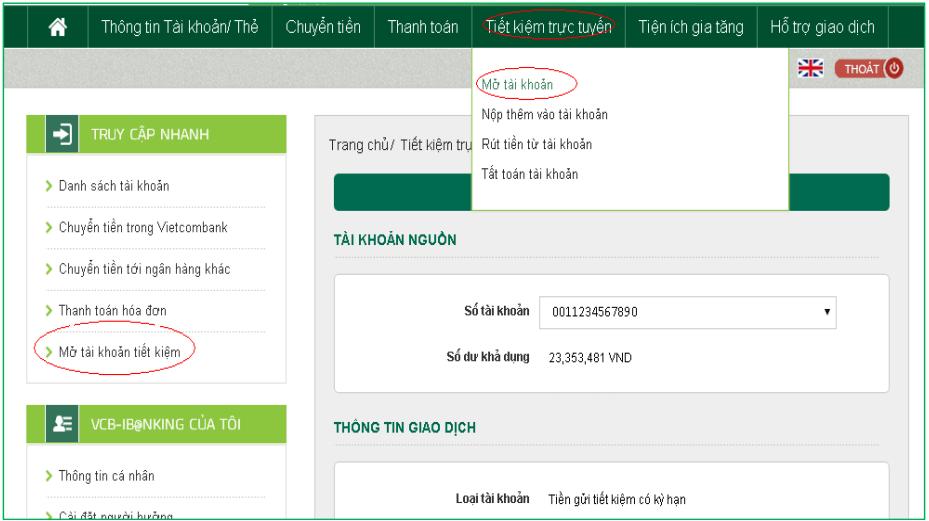Hướng dẫn cách đăng ký mở tài khoản gửi tiết kiệm online Vietcombank ảnh 2