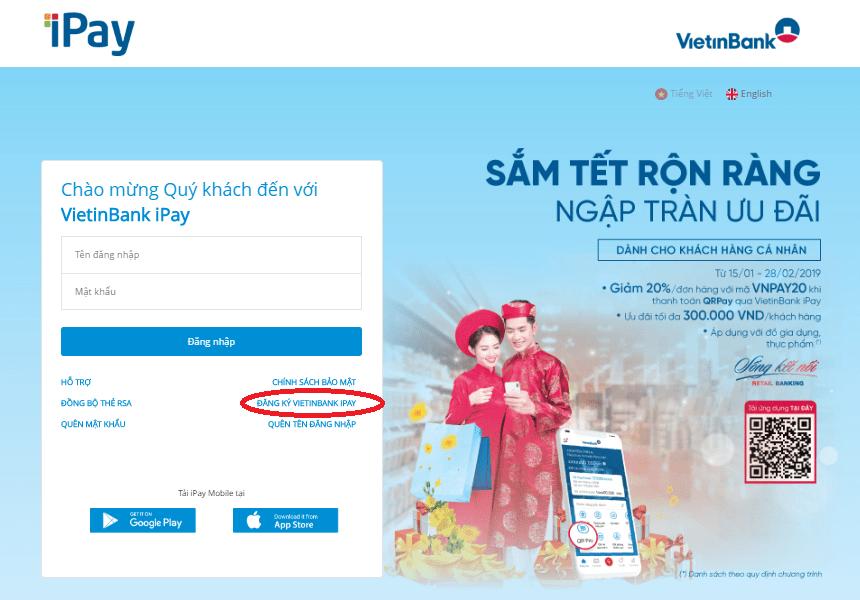 Khách hàng đăng nhập mở tài khoản Vietinbank IPay của mình