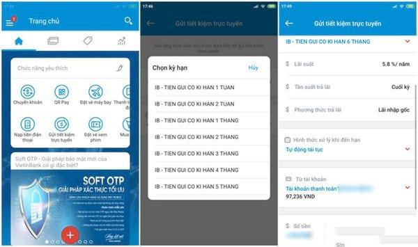 Gửi tiết kiệm trực tuyến trên vietinbank ipay